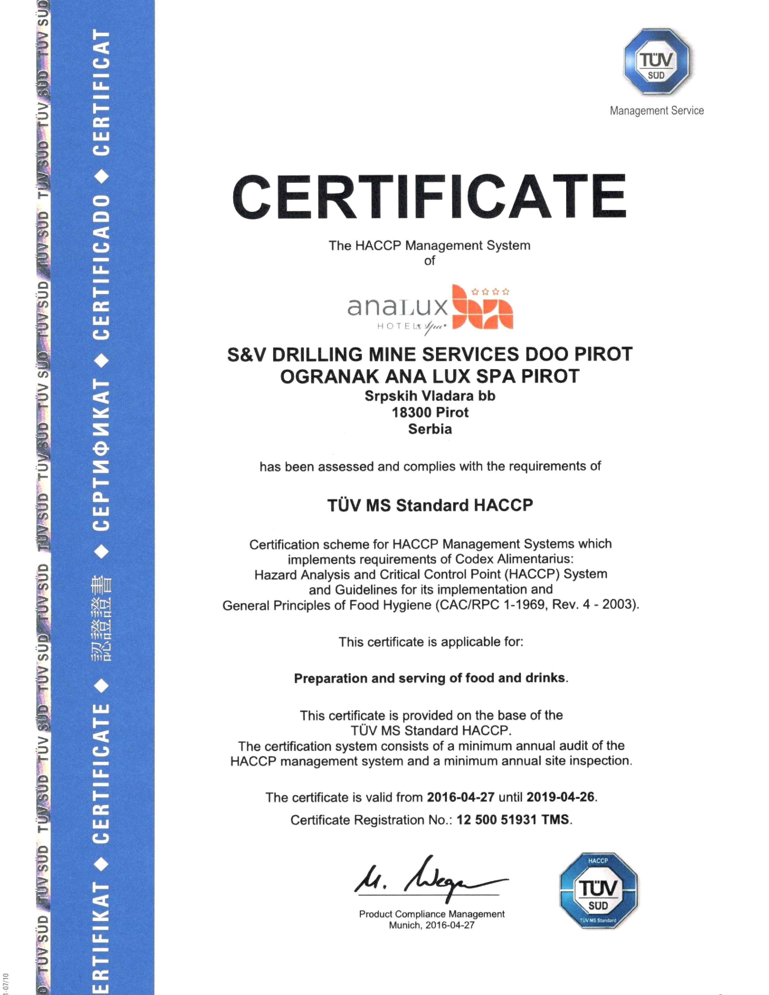 Hotel Ana Lux Spa Certificates
